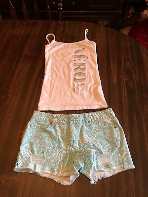 New Lot of 2 Womens Sz S/2 White Aeropostale Cami And Shorts