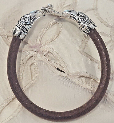 Vintage Brown 6mm Leather Cord Bangle Bracelet Double Eagle Head Toggle Clasp