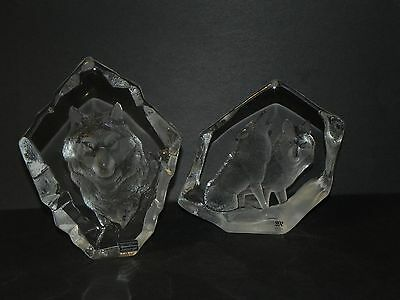 2 LARGE MATS JONASSON ART GLASS SCULPTURES ~One SIGNATURE COLLECTION Wolves Wolf