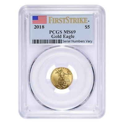 Sale Price - 2018 1/10 oz Gold American Eagle PCGS MS 69 First Strike