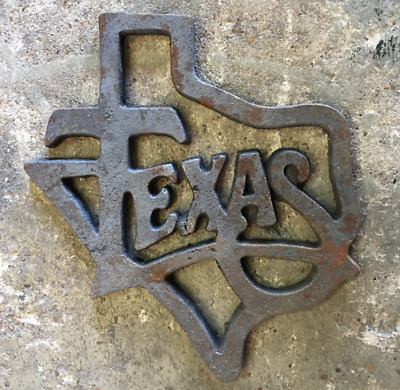 One (1) Medium Cast Iron Texas Architectural Antique Lone Star Rustic Ranch