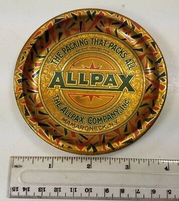 ALLPAX PACKING Mamaroneck NY  tin litho tip tray ashtray Excellent Cond.