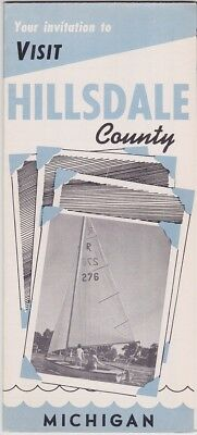 1950's Hillsdale County Michigan Promotional Map Brochure