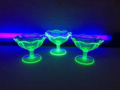 "Retro Uranium Depression Set of (3) Paneled Fluted 3"" Sherbet Glasses Vaseline"