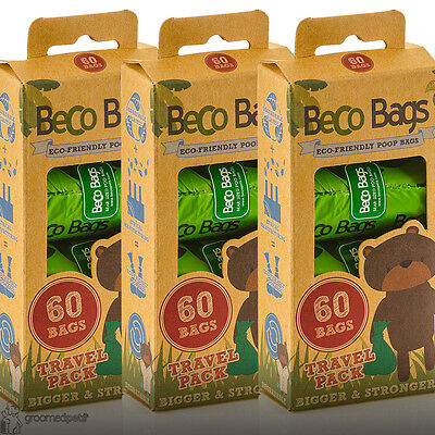 Beco Eco Friendly Degradable Extra Thick Dog, Puppy Poop Bags, 60 Travelpack x 3