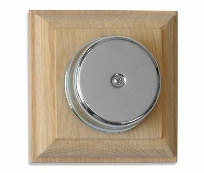 Loud Underdome Chrome wired Doorbell on Unvarnished Natural Oak Plinth
