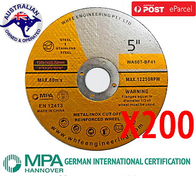 200 X 125mm Cutting Discs Wheel Thin Angle Grinder Cut Off Metal Steel Flap
