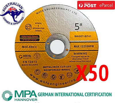 50 x 125mm x 1mm Cutting Disc Wheel Thin Angle Grinder Cut Off Metal Steel Flap