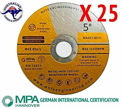 25 X 125mm x 1mm Cutting Discs Wheel Thin Angle Grinder Cut Off Metal Steel Flap