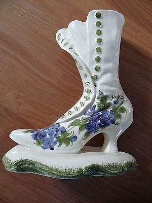 VINTAGE1946 CLINCHFIELD ARTWARE HANDPAINTED POTTERY Antique BOOT Clematis Flower
