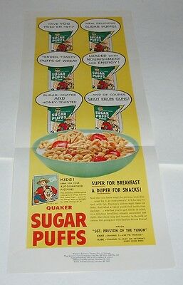 1957 Sgt Preston Sugar Puffs Cereal Box Newspaper Proof Ad