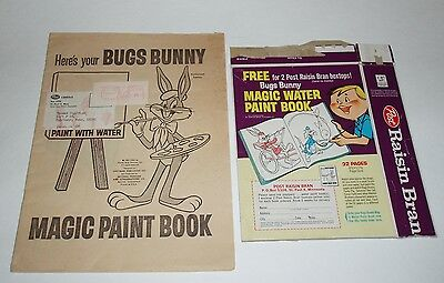 1964 Post Cereal Bugs Bunny Paint Book & Raisin Bran cereal box