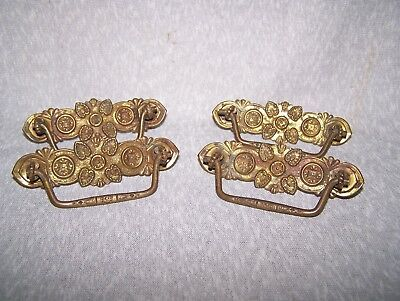 Set Of 4 Antique Vintage Stamped Brass Victorian Drawer Pull Bail Handles Floral