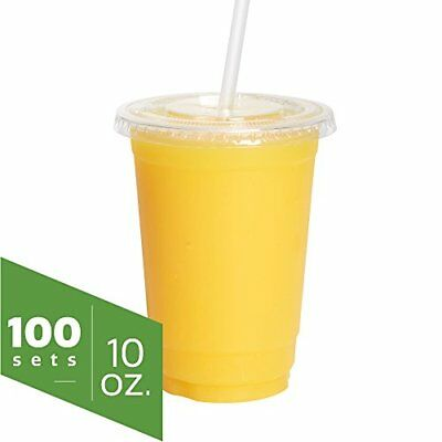 10 oz. Clear Plastic Cups with Flat Lids 100 Sets Smoothie Milkshake Ice Coff...
