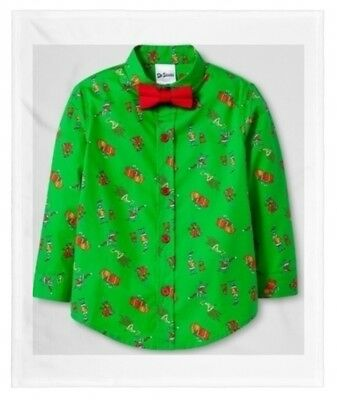 Toddler Boys Dr. Seuss How Grinch Stole Christmas Button Down Shirt & Bow Tie
