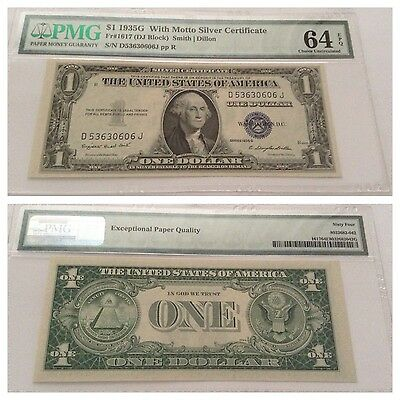Vintage 1935-G With Motto Pmg 64 Epq $1 Silver Certificate Dollar Uncirculated