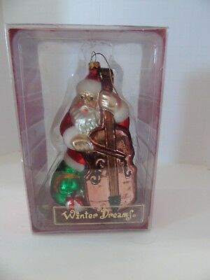 Christmas Hand Blown Glass Ornament ~ SANTA w/Violin ~ New with Tags