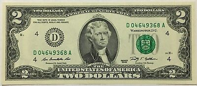 "2009 ""UNC"" Two Dollars Banknote, United States Of America, Series ""D"" U.S.A."
