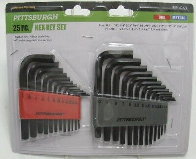 PITTSBURGH 25 PIECE HEX KEY Allen Wrenchs Set Carbon Steel SAE & Metric NEW
