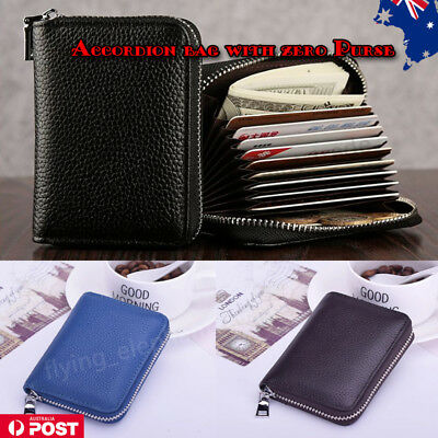 New Mens/Womens Cowhide Genuine Leather Wallet ID Credit Card Holder Purse AU