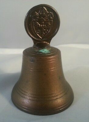 Small Brass Metal Bell Family Crest Code of Arms Made in England English Vtg