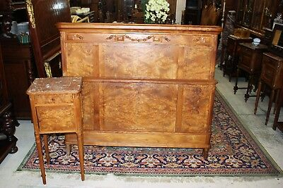 Beautiful French Antique Maple Bird Eye Bedroom Set Full Size Bed & Nightstand.