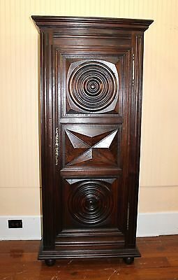 Beautiful Antique French Carved Oak Louis XIII 1 Door Cabinet With 3 Shelves.