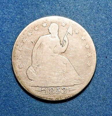 1853 50C Liberty Seated Half Dollar Average Condition Silver Arrows and Rays