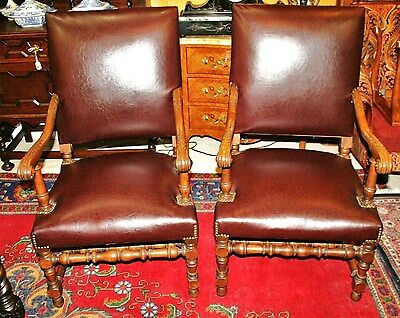 Pair of Carved French Antique Oak Louis XIII Chairs Circa 1890s