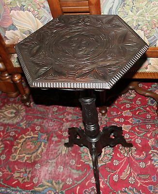 Victorian Antique English Carved Side Table Oak Accent Tall Solid Wood End Table