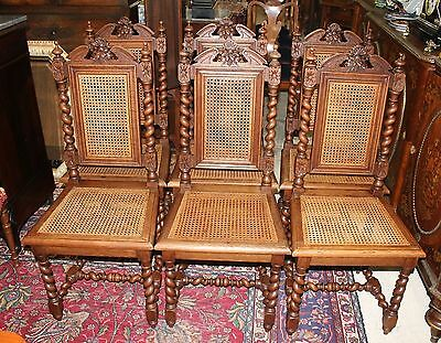 Beautiful Set Of 6 French Antique Carved Oak Louis XIII Cane Dining Chairs.