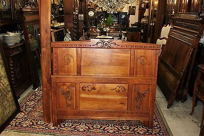 Beautiful Antique French Art Deco Maple Wood Full Size Bed With Rails.