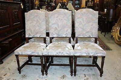 Beautiful Set of 6 Antique French Oak Louis XIV Upholstered Chairs.