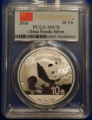 2016 China Silver Panda (30 g) 10 Yuan - PCGS MS70 - First Strike