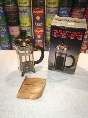 Vintage Gold Tone 3 Cup French Press Coffee Maker by Pyrex Chambourd style & Box