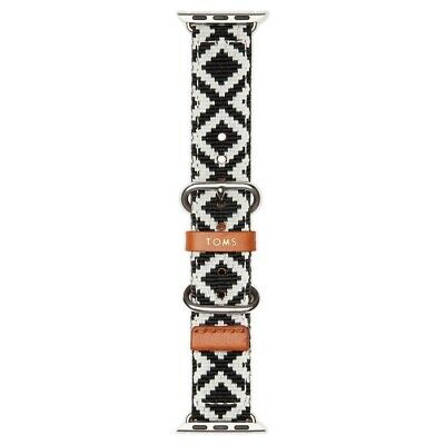 TOMS Black Woven Apple Watch Band 38mm Brand New ! Black And White