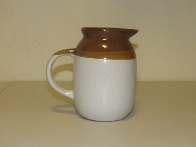 Vintage Two Tone Brown & Beige Small Ceramic Pitcher, Creamer