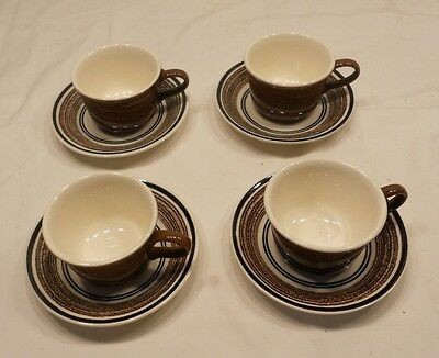 Brown Drip Pottery Cups And Saucers, 4 Sets, Marked Usa