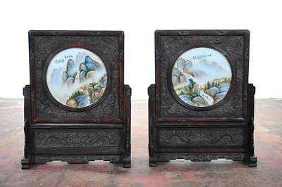 Chinese Large pair of Circular Porcelain Hand Painted Panels