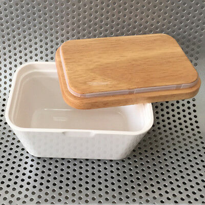 Butter Box Melamine Dish With Wood Lid Holder Serving Storage Container
