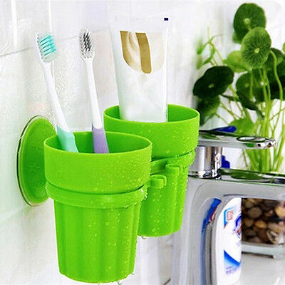 Eg_ Toothbrush Toothpaste Suction Cup Holder Rack Bathroom Wall Organizer Lovely