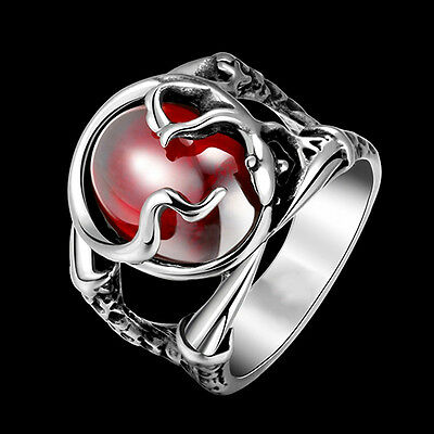 EG_ Men Punk Engraved Gecko Pattern Red Stone 316L Stainless Steel Ring Perfect