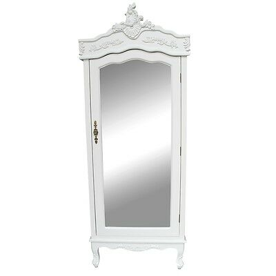 White Single Wardrobe Mirror Shabby Chic Armoire French Country Chateau Bedroom