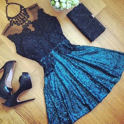 Women Summer Casual Prom Evening Party Cocktail Lace Hollow Short Mini Dress