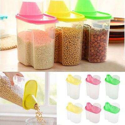 EG_ Dried Food Cereal Flour Dispenser Rice Container Storage Sealed Box Splendid