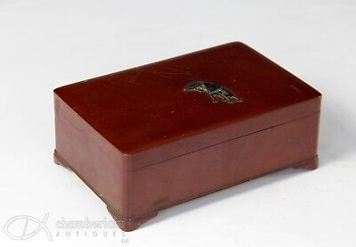 Antique Japanese Mixed Metal Bronze Covered Box Marked Nogawa #2