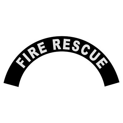 Fire Rescue White on Black Helmet Crescent Reflective Decal Sticker