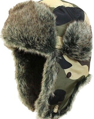 Camouflage Ushanka - Winter Russian Hat Ski Faux Fur Pilot Military Army New