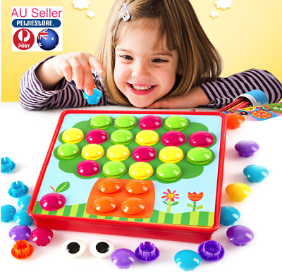 Button Art Early Learning Educational Kids Toys Colorful Matching Mosaic Pegboar