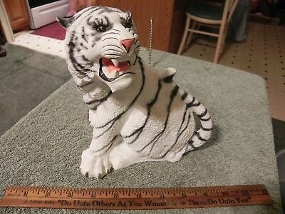 vintage Hakata white tiger figurine, signed